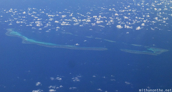 South China sea oval island aerial photograph