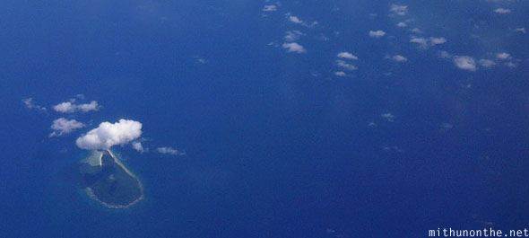 South China sea small hilly island aerial