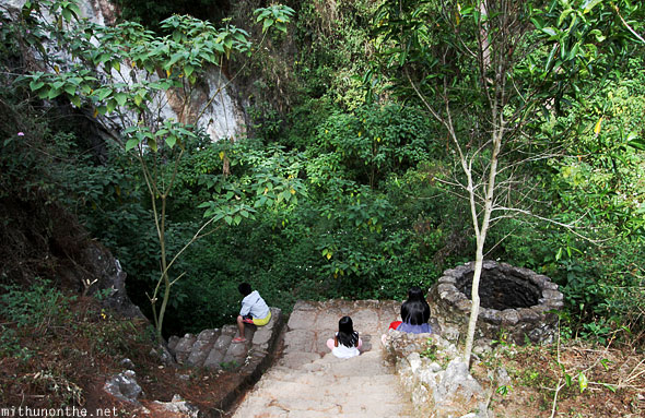 Steps down to Sumaguing cave children