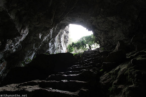 Steps out of Sumaguing cave Sagada Philippines