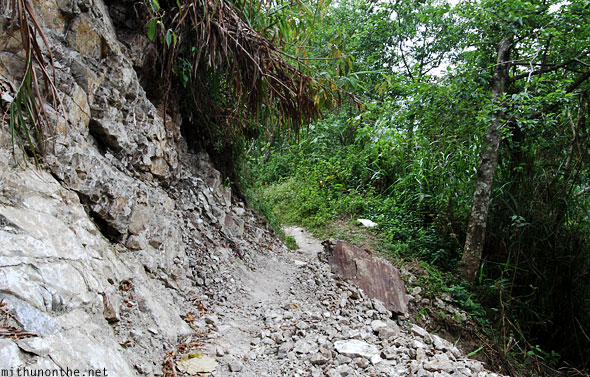 Trek to Batad village Banaue landslide path