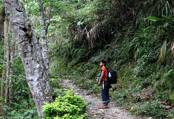 Walking back to Batad junction local guide