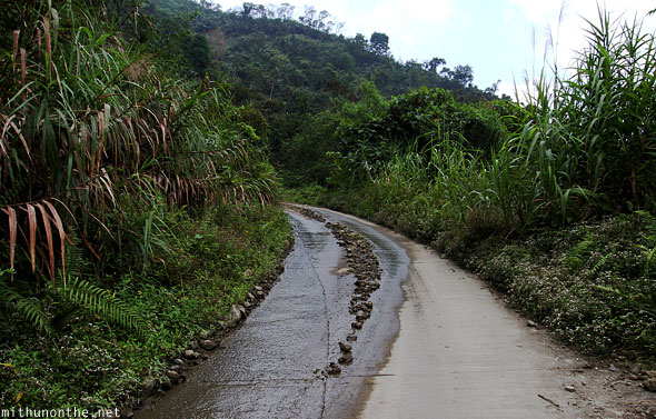 Wet road to Batad junction