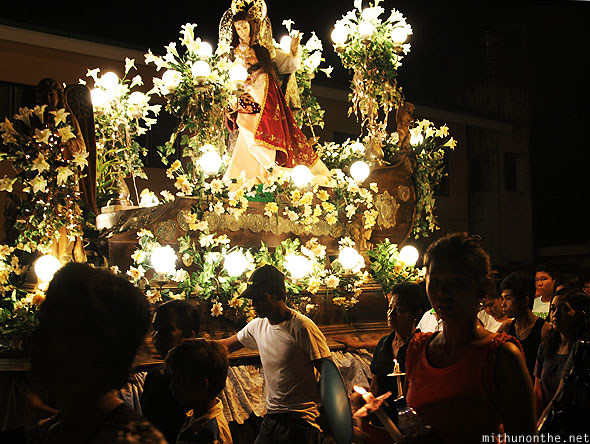 Beautiful carrozas good friday procession San Fernando Pampanga Philippines