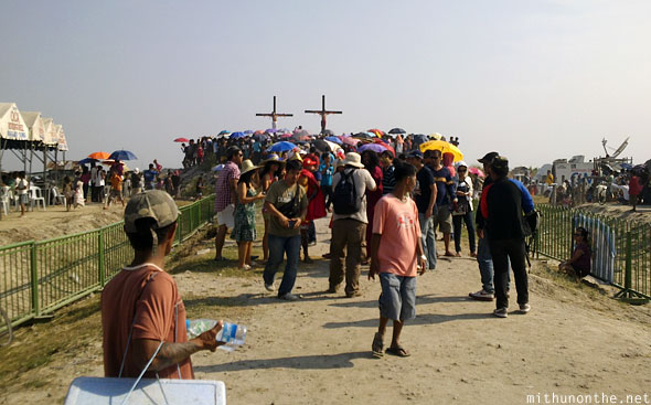 Crowds thronging crucifixion site good friday Pampanga