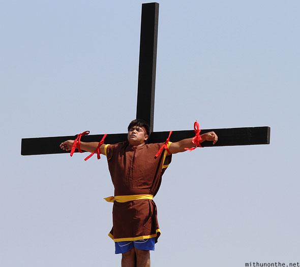 Good Friday Crucifixion reenactment cross Philippines
