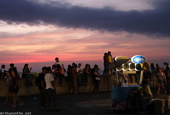 Evening sunset baywalk Manila Philippines