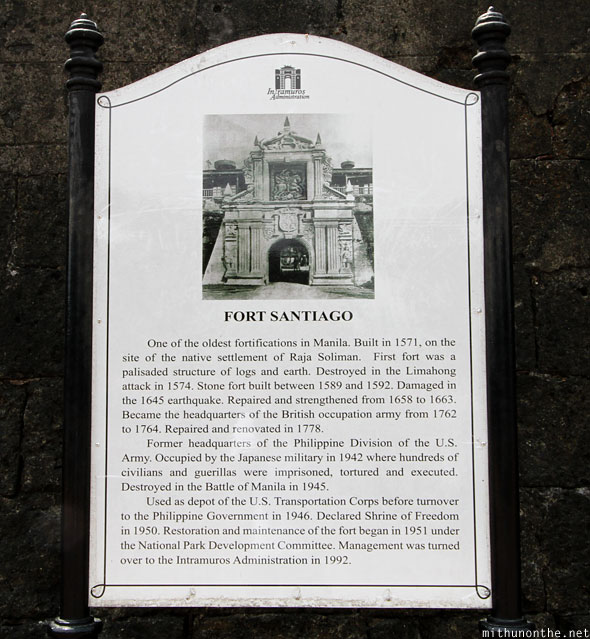 Fort Santiago history fact Manila Philippines