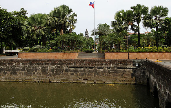 Fort Santiago water pool Philippines flag