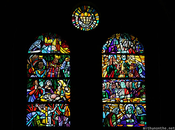 Glass painting art church Manila Cathedral Philippines