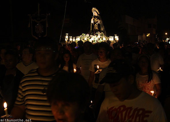 Good friday carroza night procession San Fernando Pampanga Philippines