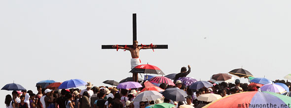 Good Friday Pampanga nailed to cross Philippines