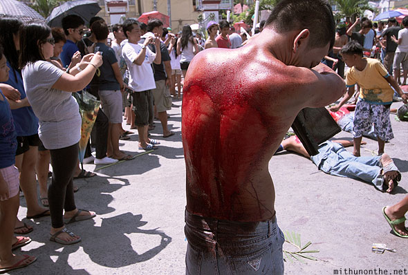Heart shaped bloodied back Filipino good friday Philippines