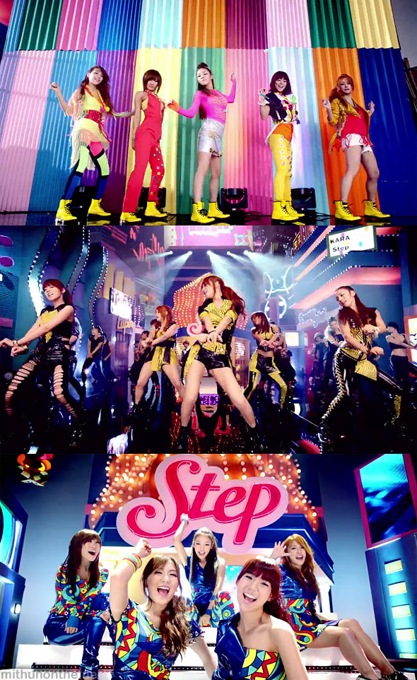 Kara Step MV screencap members fashion k-pop girl group