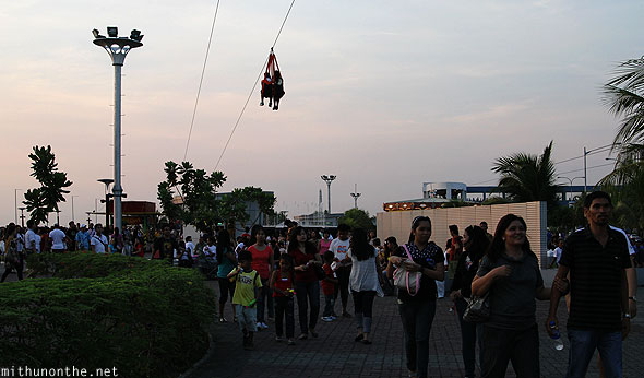 Manila baywalk zipline above crowds Philippines
