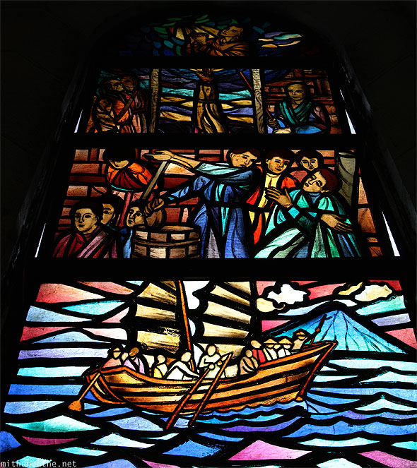 Manila cathedral glass painting church Philippines