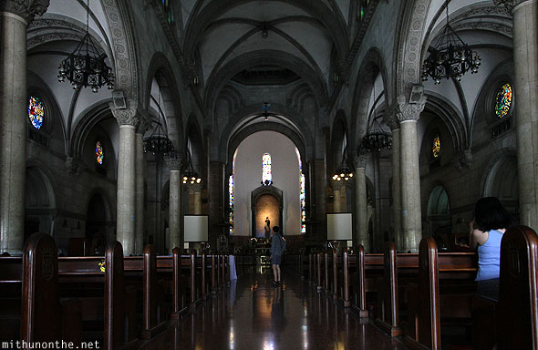 Manila Cathedral hall praying Intramuros Philippines