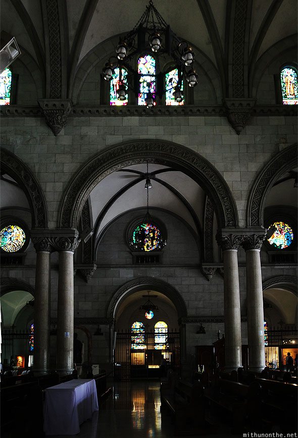 Manila cathedral pillars panorama