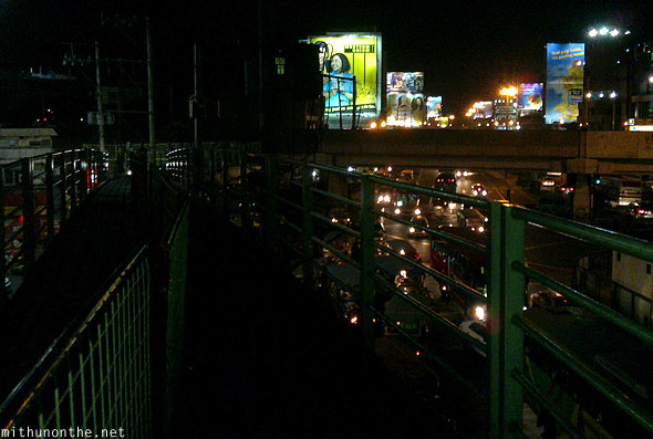 Pasay pedestrian bridge Manila at night