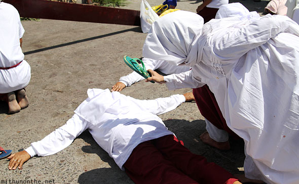 San Fernando good friday nuns hit with slippers Pampanga Philippines