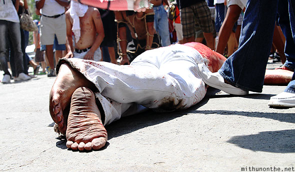 San Fernando good friday penance feet Philippines