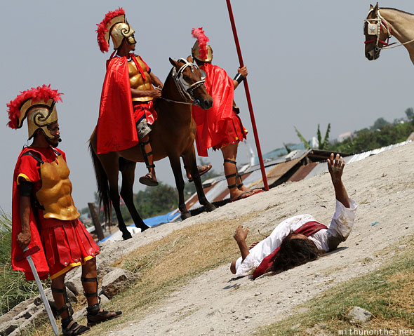 San Pedro Cutud crucifixion play jesus on ground