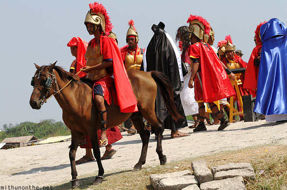 San Pedro Cutud crucifixion play roman soldiers horse