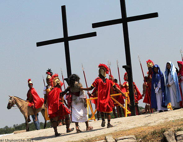 San Pedro Cutud crucifixion play Roman soldiers Jesus Philippines