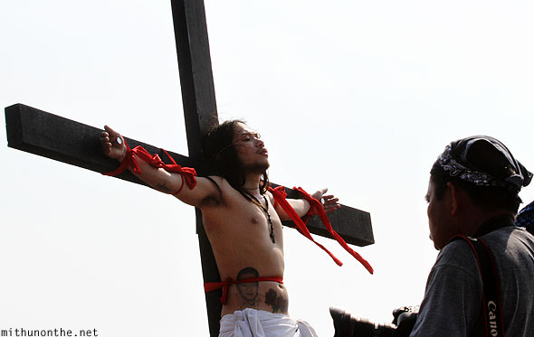 San Pedro Cutud good friday passion play nailed to cross