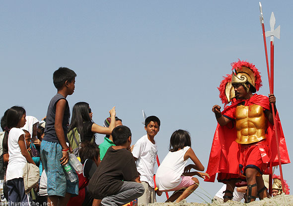 San Pedro Cutud passion play crucifixion guards warning locals Pampanga