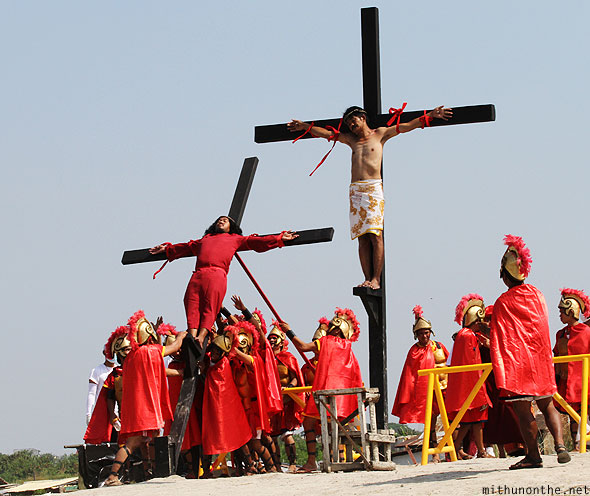 San Pedro Cutud passion play raising penitents crosses Pampanga
