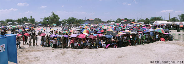 San Pedro Cutud reenactment site crowds panorama