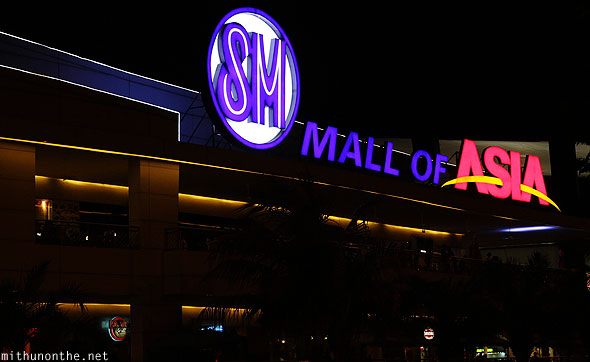 SM mall of asia at night Manila Philippines