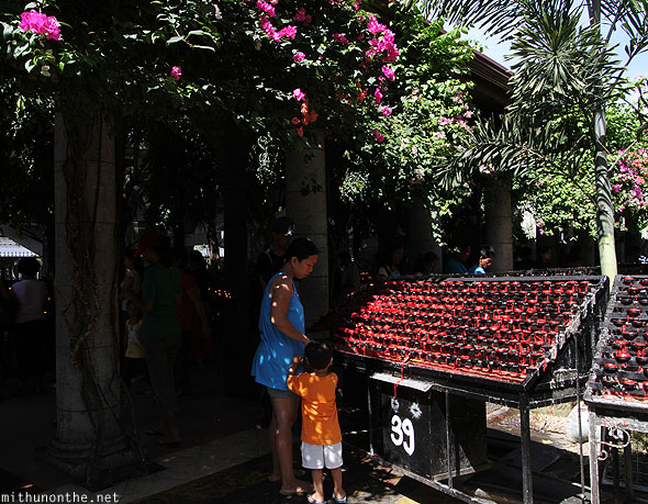 Basilica del Santo Nino red candles Cebu Philippines