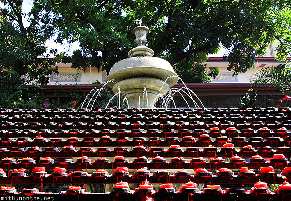 Basilica St. Nino candles fountain Cebu Philippines