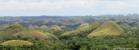 Chocolate Hills Bohol round close-up panorama