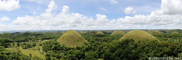 Chocolate hills Bohol wide panorama Philippines