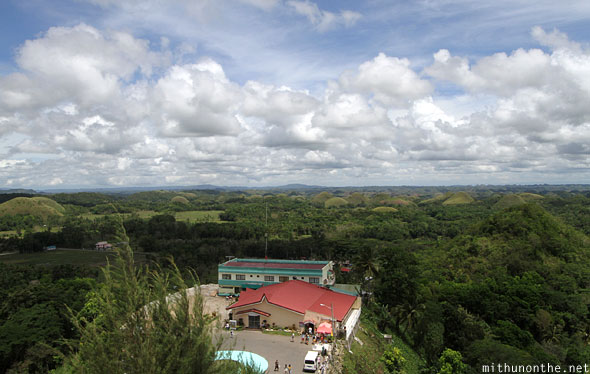 Chocolate hills view from observation deck Bohol