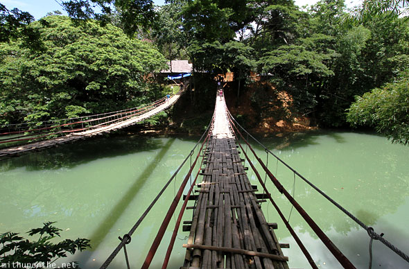Hanging bridge bamboo Sevilla Bohol Philippines