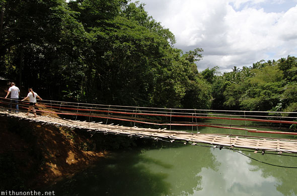 Hanging bridge Sevilla Loboc river Bohol Philippines