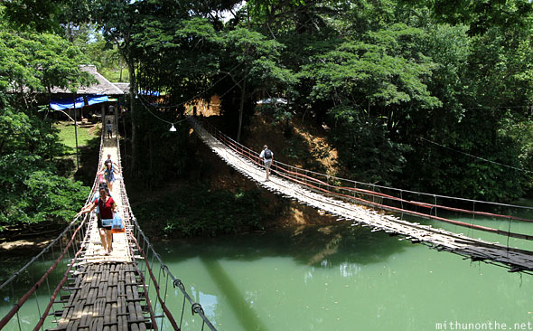 Hanging bridge twin Loboc river Bohol