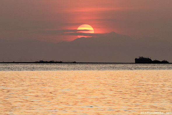 Manila sunset golden sea Philippines