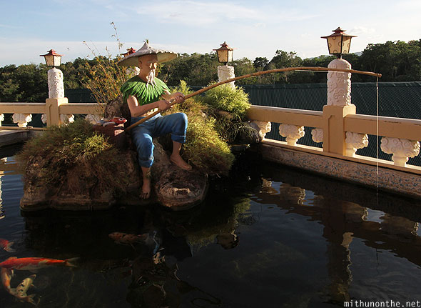 Philippine Taoist temple fisherman statue Cebu