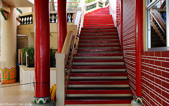 Philippine Taoist temple red staircase Cebu