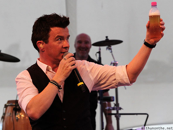 Rick Astley beer bottle Singapore concert