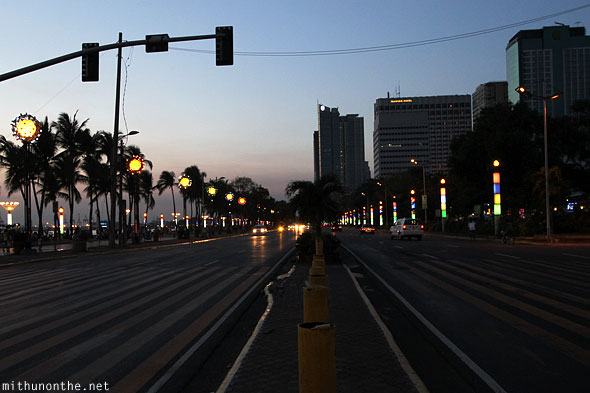 Roxas blvd at night Manila bay Philippines