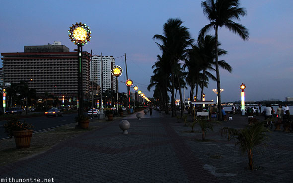 Roxas Boulevard hotel Manila bay lights at night