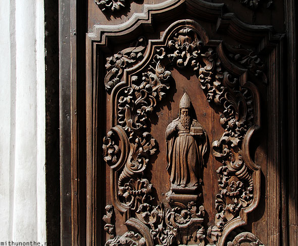 San Agustin church door wooden carving Intramuros
