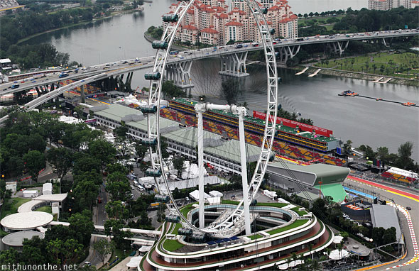 Singapore Flyer view from Marina Bay skybridge