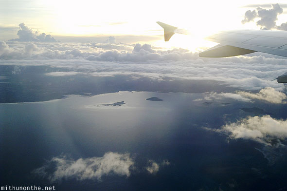 Aerial photograph Palawan flight evening sunset